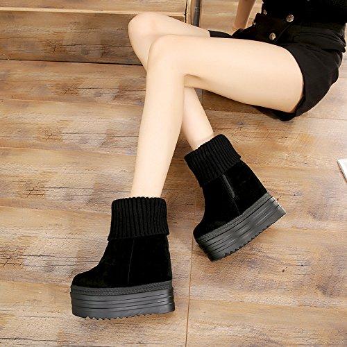 La Calzini Leisure Heeled Maglia Pendio Fondo Shoes Piattaforma Di KHSKX Scarpe High Scarpe Con Marea Scarpe Di Un black Stazione Alta Banghou dwUUY6q