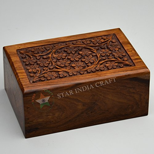 STAR INDIA CRAFT Hand Made Floral Engraving Handcarved Wood Urn by Wooden Urns for Human Ashes Adult (Large - 7.5 x 5.75 x 3.5 inches) ()