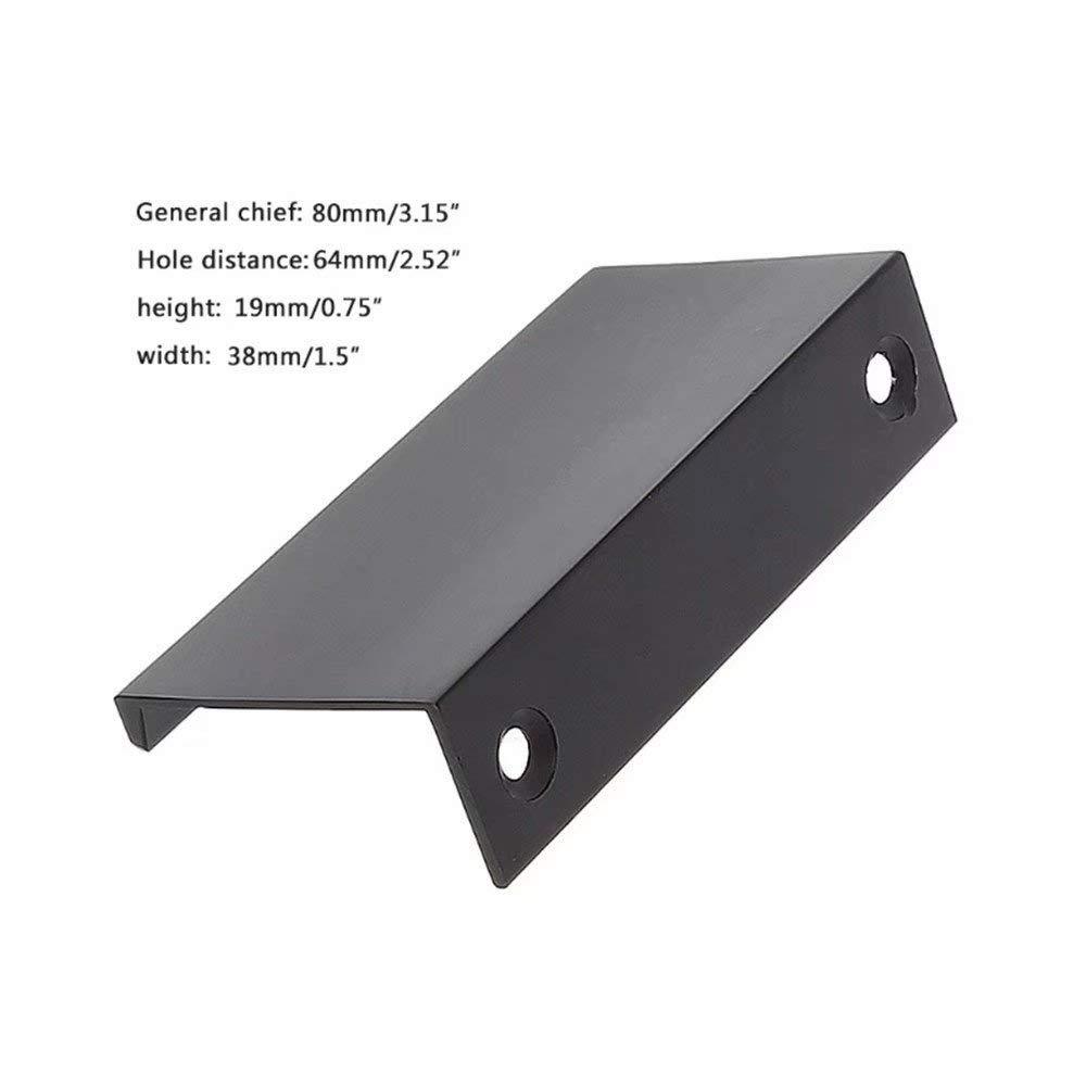Sliding Door Cabinet Hadware,Aluminium Dumb Black Brush Furniture Hardware 5pcs Modern Minimalist Cabinet Handle Pull Knobs Wardrobe Door Cabinets Hidden Handles Drawer Dressers TM FBSHOP
