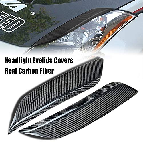Ruien Headlight Eyelids Covers Carbon Fiber Black Left + Right for 2003-2008 Nissan 350Z Fairlady Z Z33 (Pack of 2)