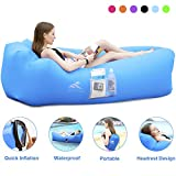 FRETREE Inflatable Lounger Air Sofa Hammock - Portable Anti-Air Leaking & Waterproof Pouch Couch and Beach Chair Camping Accessories for Parties, Travel, Camping, Picnics, Pool, Large, Blue