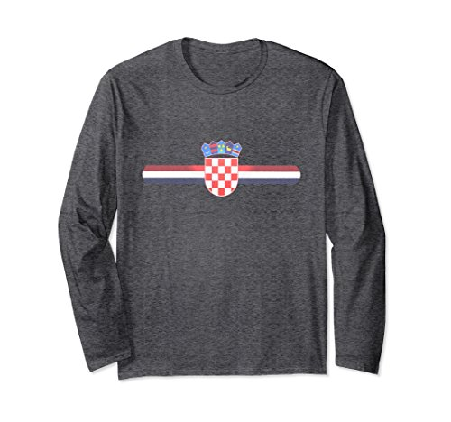 Unisex Croatia Sports-style Coat of Arms Long Sleeve Shirt Small Dark Heather - National Coat Of Arms