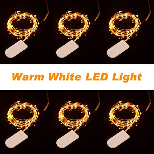 Boomile 6 Pack LED String Lights 20 Micro LEDs on 3.3feet/1m Copper Wire, Fairy Lights Battery Powered By 2x CR2032(Incl), Copper Wire Firefly Lights for Party/Christmas Decoration (Warm White)
