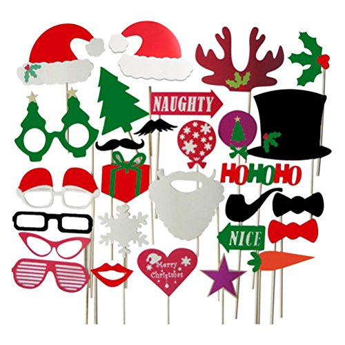 BinaryABC Christmas Party Photo Booth Props for Party Decoration 28pcs ()