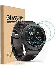 HEYUS [3 Pack] Garmin Fenix 6 6S 6X Pro Screen Protector, 9H Hardness Scratch Resistant Anti-Bubbles Anti-Fingerprint Tempered Glass Screen Protector Protective Film