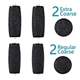 Herwiss Roller Head Refills, Pedicure Rollers Replacement, Callous Remover Rollers, Compatible with Amope Pedicure Foot File (2 Extra Coarse & 2 Regular Replaceable Roller Heads)