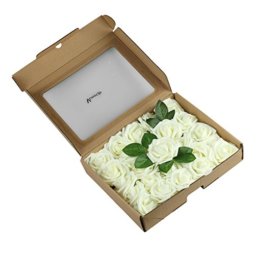 Vlovelife-25pcs-Ivory-Roses-Artificial-Flowers-25pcs-Real-Looking-Fake-Roses-wStem-for-DIY-Wedding-Bouquets-Centerpieces-Arrangements-Birthday-Baby-Shower-Home-Party-Decorations