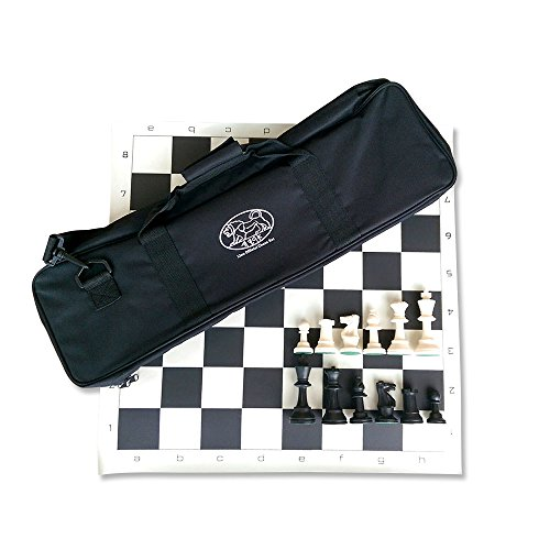 Lion Games & Gifts Europe Lion - Juego de ajedrez oficial en bolsa de rayón (negro)