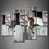 4 Panel Wall Art Two Horses Looking Outside Of The Stable Painting Pictures Print On Canvas Animal The Picture For Home Modern Decoration piece