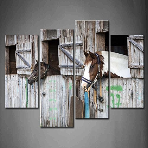 4 Panel Wall Art Two Horses Looking Outside Of The for sale  Delivered anywhere in Canada