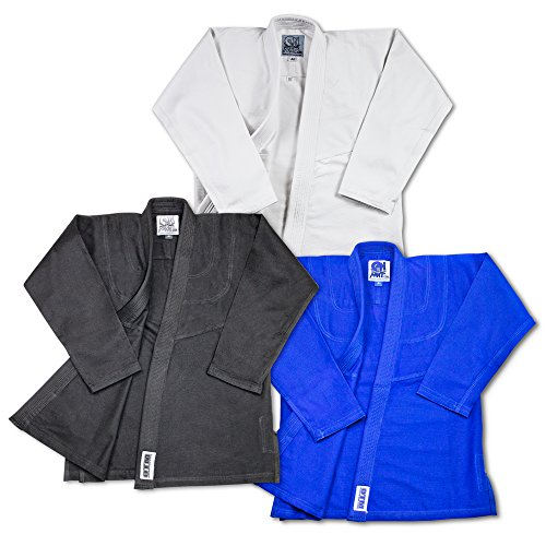 Brand Name Light Weight BJJ Gi Starter Bundle Includes Light Weight White Jiu Jitsu Belt And 2 Traininig DVD (Blue, A4)