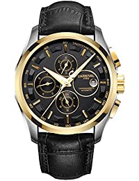 Mens 25 Jewels Automatic Sapphire Mirror Transparent Back Cover 24 Hours Calendar Black Calfskin Watches