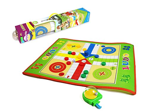 Foldable Ludo board game set - giant board space for fun play of 3+ kids; traditional family board game