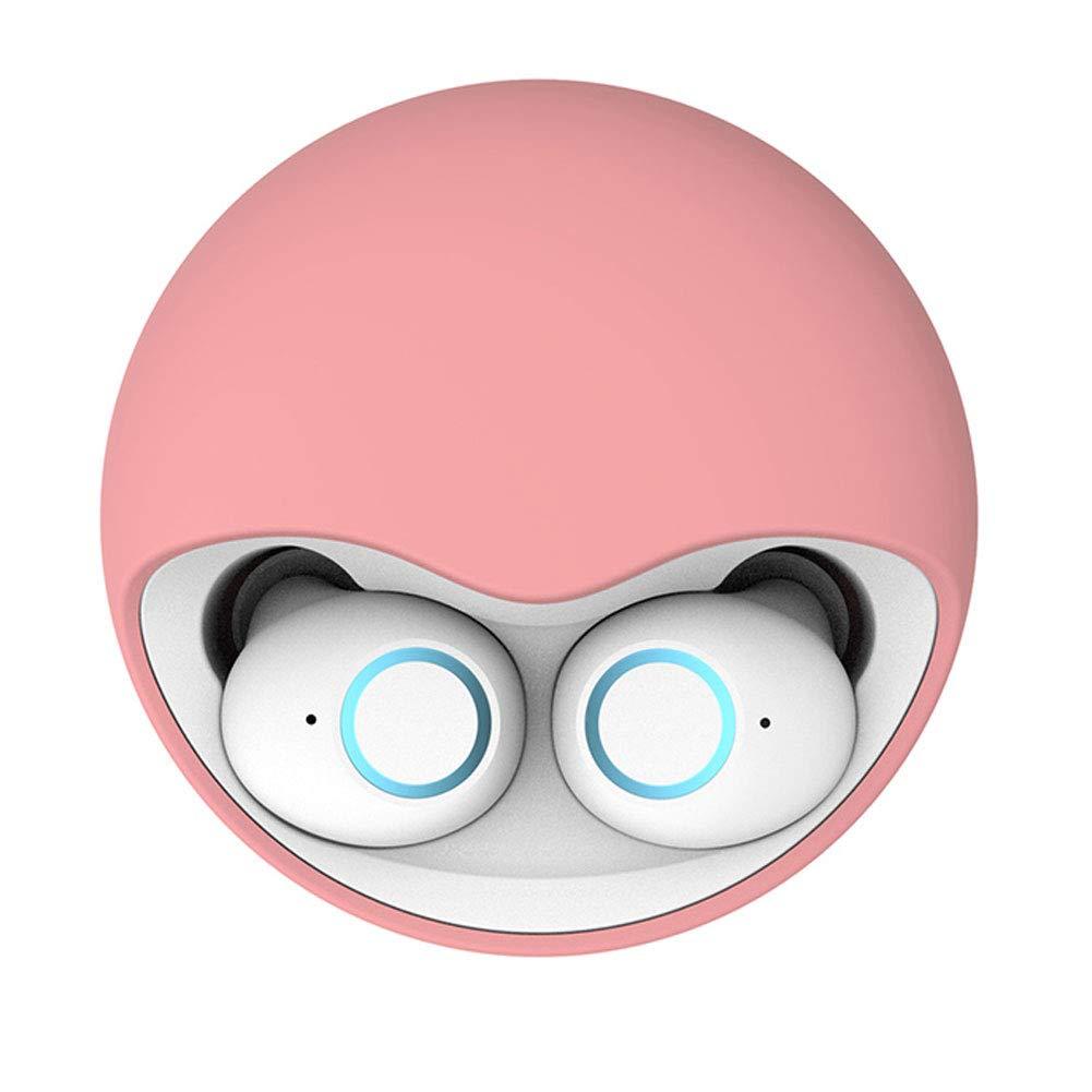 WYKsoku Bluetooth Earphones Headphones, Portable in-Ear Earbuds TWS Wireless Bluetooth 5.0 Earphones with Charge Box - Pink