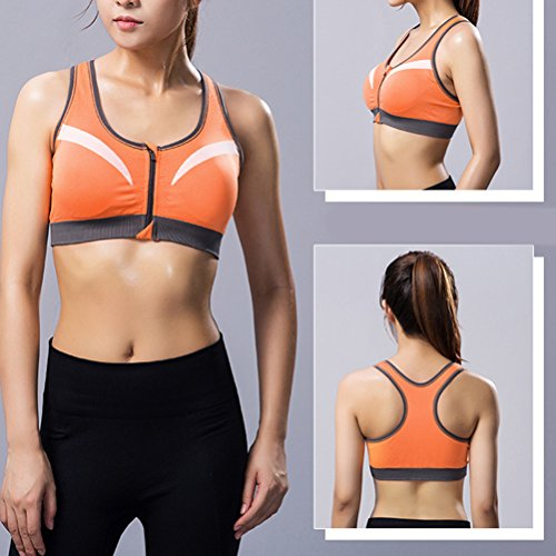 Zhhlaixing Women Fitness Yoga Sports Bra for Running Gym Padded Wirefree Shakeproof Underwear Push Up Seamless Front Zipper Top Bra Orange