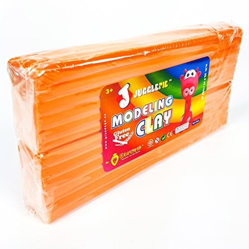 JUGGLEPIE Colorful Modeling Clay for Kids | Bulk Pack of 1.1 Pound Size Brick - Art Toys for Creative Children, Soft and Easy to Mold, Non-Hardening, Non-Toxic and Never Dries Out - Large (Orange)
