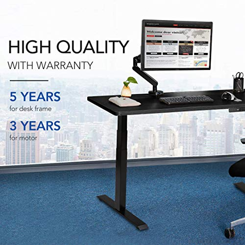 SANODESK Standing Desk Frame Electric Height Adjustable in 3-Stage Steel, with 4-memory Touch Screen Remote Control, Max Capacity 125kg, Model E7 (Black)