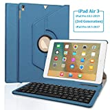 SENGBIRCH Keyboard Case for iPad Pro 10.5 (A1701 - A1709 - A2123 - A2152 - A2153) - 360 Rotating Case - Detachable Keyboard - PU Leather Stand - iPad Pro 10.5 Keyboard Case - (Blue - 10.5 2017 2019)