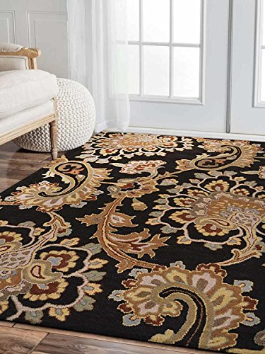 Rugsotic Carpets Hand Tufted Wool 5'x8' Area Rug Floral Black K00151 from Rugsotic Carpets