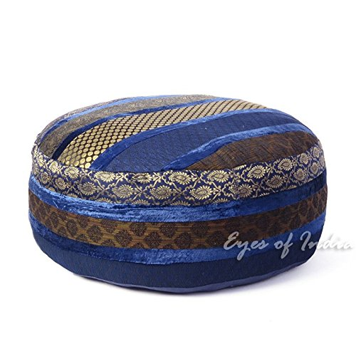 Eyes of India - 24 X 10 Large Blue Brocade Round Ottoman Pouf Pouffe Cover Floor Seating Bohemian Boho Indian