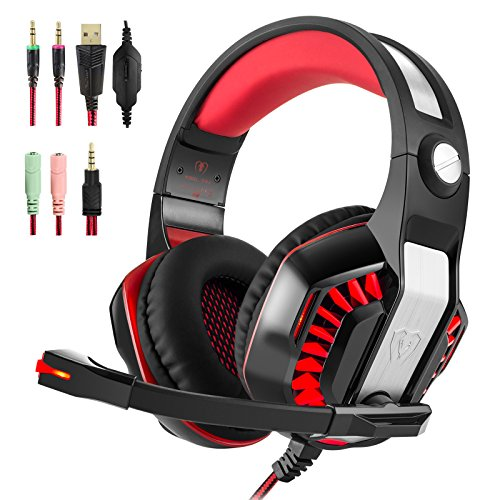 Hotyet Newest PS4 Xbox One PC 3.5mm Gaming Headset with Mic Sound Clarity Noise isolating LED lights Soft&Comfy ear-pads Y-Splitter for Laptops Tablet Smartphones (Beexcellent) (Red)