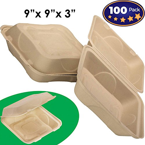 Biodegradable 9x9 Take Out Food Containers with Clamshell Hinged Lid 100 Pack. Microwaveable, Disposable Takeout Box to Carry Meals ToGo. Great for Restaurant Carryout or Party Take Home Boxes -
