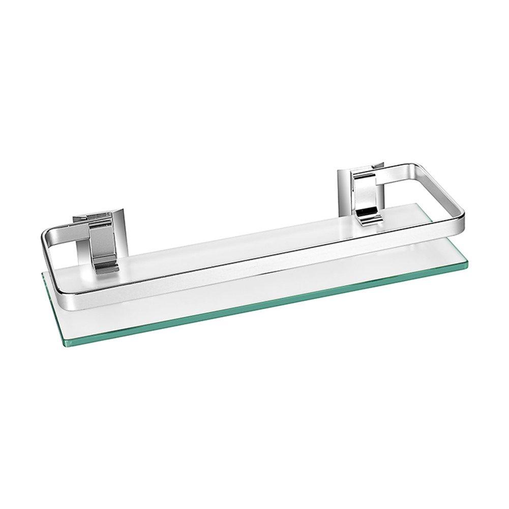 Estante de cristal templado grueso y aluminio Homeself, para montar en la pared del bañ o, cocina, etc., estante de almacenamiento, vidrio, 1 estante para montar en la pared del baño