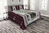 Lunarable Winter Bedspread Set Queen Size, Open Window with View to a Snowy Winter Scenery Pattern Curtain Drapes Frosty, Decorative Quilted 3 Piece Coverlet Set with 2 Pillow Shams, Maroon White