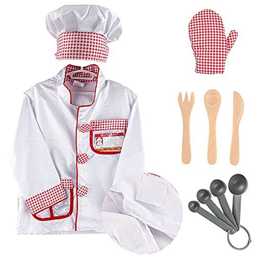 iPlay, iLearn - Kids Chef Role Play Costume, Cooking Dress Up Set & Cook Toy Kits, Gift For Halloween Christmas, Birthday Party and Holidays, Size for 2, 3, 4, 5, 6 Year Old and Up - Little Girl Chef Costume