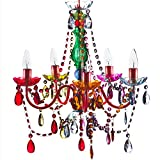 The Original Gypsy Color 5 Light Medium Gypsy Chandelier H21 W19, Red Metal Frame with Multi Color Acrylic Crystals For Sale