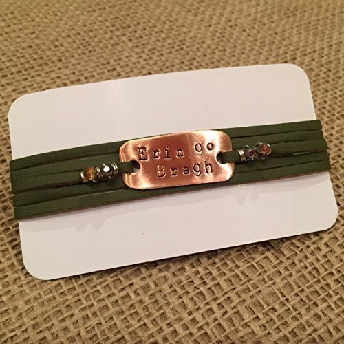 Leather Erin (IF - Hand Stamped Erin go Bragh on Green Leather and Copper Metal, Irish Bracelet, Irish Jewelry, Celtic Bracelet in Copper, Irish Bracelet - Made in Wisconsin)