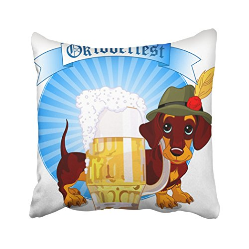 Cover 18X18 Inch Polyester German Oktoberfest Design Of Dachshund Dog And Pint Beer Cute Alcohol Animal Bavaria Decorative Pillowcase Two Sides Square Print For Home (Bavaria Square Print)