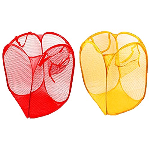 LEFV™ Pack of 2 Laundry Basket Deluxe Pop Up Mesh Hamper Clothes Sorter Folding Storage Tote Bag Case Open Bin for Toys Dirty Tidy Clothes Socks Underwear Bra Lingerie Red and - Deluxe Hamper