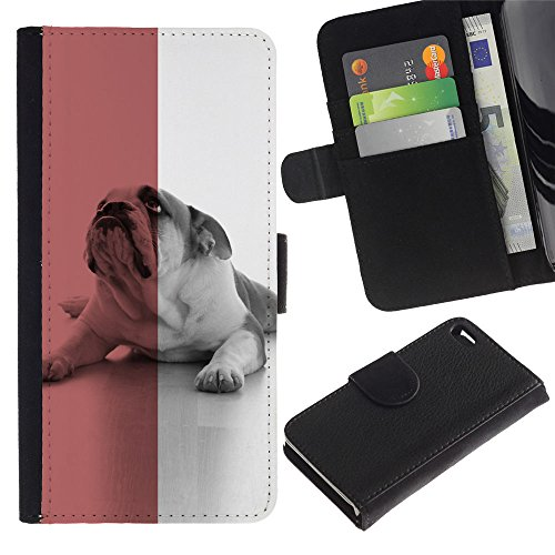 OMEGA Case / Apple Iphone 4 / 4S / British English Bulldog red dog flag symbol / Cuir PU Portefeuille Coverture Shell Armure Coque Coq Cas Etui Housse Case Cover Wallet Credit Card