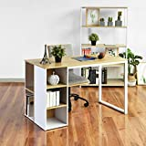 Computer Desk with 5 Side Shelves Organizers Wood Style and Metal Legs Large Size Work Surface Workstation Laptop Office Shelf Desk for Home Office - Light Brown / White