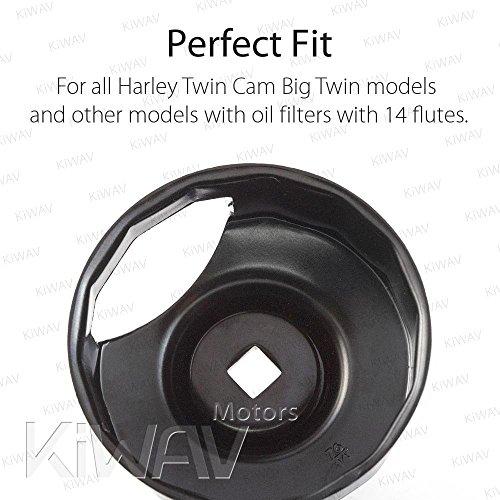 Oil Filter Cap Wrench for Harley-Davidson Twin Cam 76 mm 14 Flutes (Crank Sensor) - By KiWAV by KiWAV (Image #6)