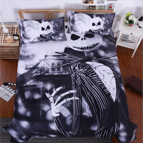Nightmare Before Christmas 3-Piece Duvet Cover, Microfiber Duvet Cover Set,Ultra Soft and Easy Care, Simple Style Bedding Set (Twin(173x218CM))