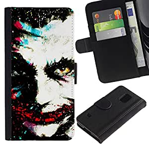 iKiki Tech / Cartera Funda Carcasa - Greepy Clown Monster Villain White Face - Samsung Galaxy S5 V SM-G900
