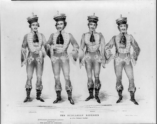 Photo: The Hungarian Singers in their National Costume,Kain,Rosan,Leibenstien