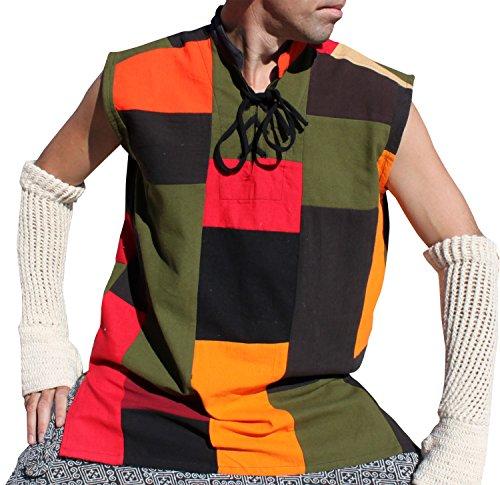 Raan Pah Muang RaanPahMuang Renaissance Jester Sleeveless Sack Patch Muang Cotton Vest, X-Large, Nature On Fire
