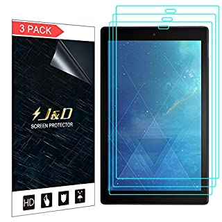 J&D Compatible for 3-Pack All-New Fire HD 10 Tablet (2017) Screen Protector, HD Clear Film Shield Screen Protector for All-New Amazon Fire HD 10 Tablet (Release in 2017) Crystal Clear Screen Protector