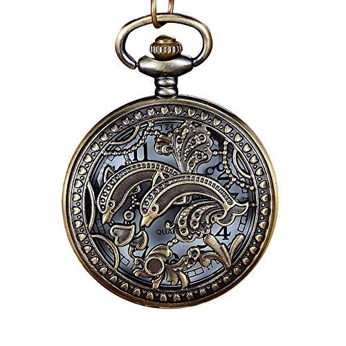 Best Gift!!!Redvive Top Vintage Bronze Tone Spider Web Design Chain Pendant Men's Pocket Watch Gift