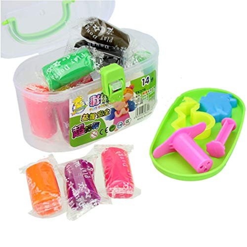 Clay Air Drying Ultra Light Molding Magic Clay, The Best Children's Gift Fragrance Color Clay Barrels 14 Ribbons Mold Safe Non-Toxic Plasticine Children's Play House Toys