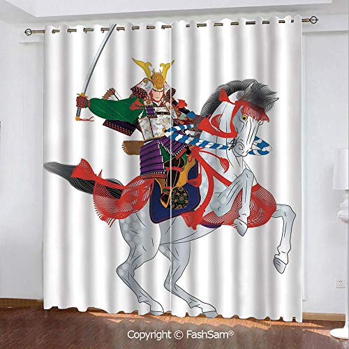 FashSam Thermal Insulated Blackout Curtains an Asian Soldier with Local War Clothes Armour Riding a Prancing Horse Illustration Window Treatment Pair for Bedroom(55