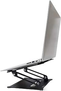 HOSL Laptop Stand Adjustable Aluminium Alloy Laptop Holder Foldable Notebook Stand for Laptop Computer Desk Holder Shelf Portable Reading Table Homework Desk Dinning Table for Bed Sofa Couch (Black)