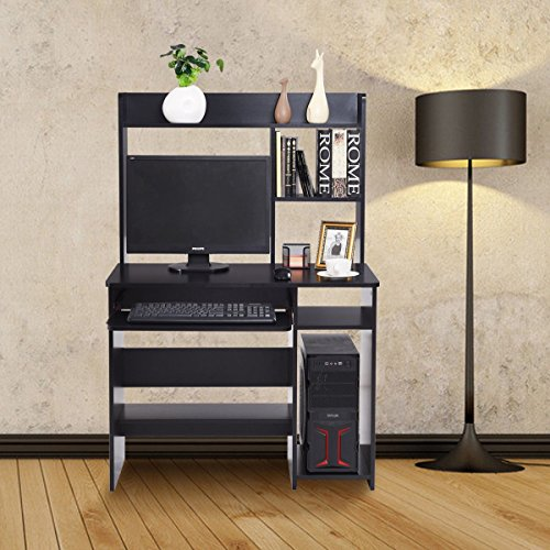 Custpromo Home Office Wood Computer Desk Table Hutch Storage Shelves With Pull-Out Keyboard Tray Organizer, (Pull Out Notebook Shelf)