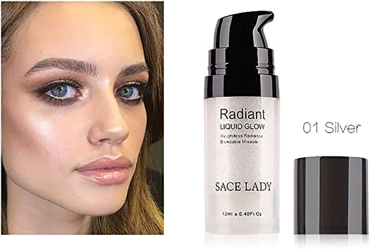 Image of Hilai 1Bottle Face Glow Resaltador líquido Iluminador Iluminador líquido maquillaje facial en crema brillo base y corrector ultraconcentrado (01 Silver)