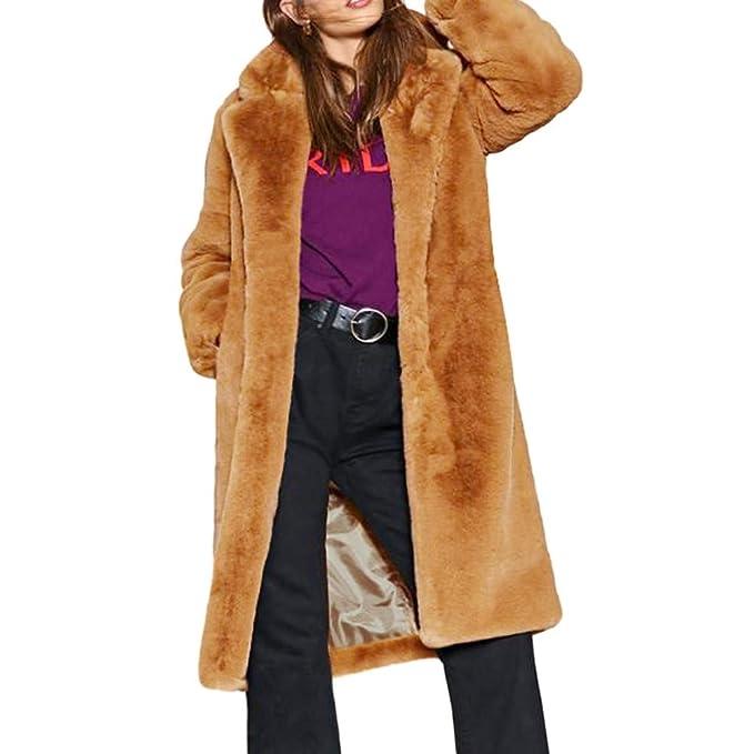 Logobeing Chaqueta Suéter Abrigo Jersey Mujer Originales Damas Chaqueta de Abrigo de Piel Sintética CáLida Invierno Sólido Parka Solapa Prendas de Abrigo: ...