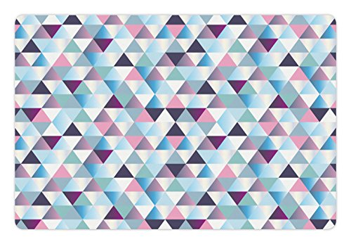 Lunarable Geometric Pet Mat for Food and Water, Diamond Shapes Triangle Abstract Pattern Geomatic Fashion Stylish Print, Rectangle Non-Slip Rubber Mat for Dogs and Cats, Blue Pale Pink Plum (Pet Fashion Plum)