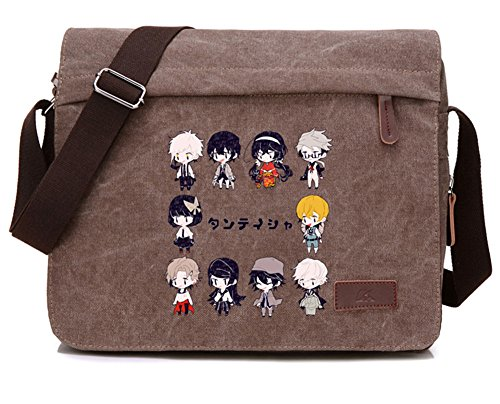 - Gumstyle Bungo Stray Dogs Anime Cosplay Canvas Messenger Bag Laptop Bags Schoolbag for Boys Girls Reddish Brown 3
